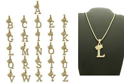 "Alphabet Initial Letter Crown Pendant with 24"" Box Chain Hip Hop Necklace Unisex"