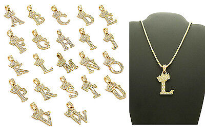 "Unisex Iced Out Alphabet Initial Letter Pendant 24"" Box Chain Hip Hop Necklace"