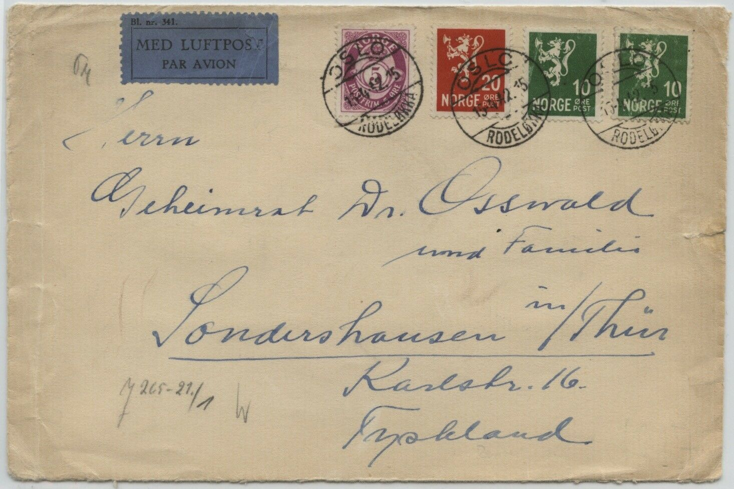 Norway 1942 Air Cover To Germany W/Berlin Censor Label H/s, 45 Ore Rate - $8.99