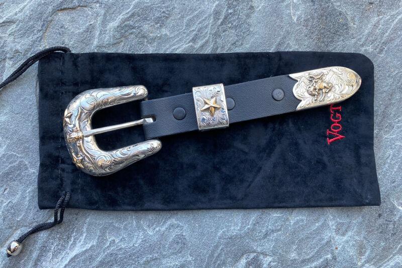Vogt Sterling Silver 14k Gold belt buckle set