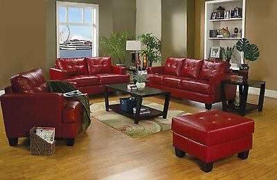 RED BONDED LEATHER SOFA LOVE SEAT & CHAIR LIVING ROOM FURNITURE SET