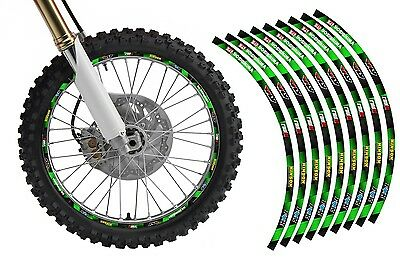 Dirt Bike Rim Protector Decal Kit for 19 and 21 inch Wheels Design #1921GRN Bike Decal Kits