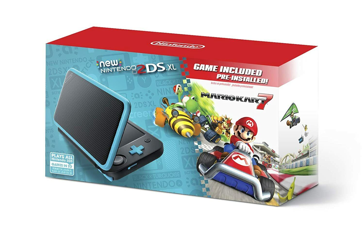 New Nintendo 2DS XL Black+Turquoise With Mario Kart 7 Pre-in