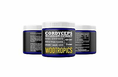 Cordyceps Mushroom - Pure Cordyceps Mushroom Extract Powder, 1:1 Concentration Non-GMO Nootropic NEW