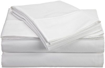NEW Castle Hill 310 Thread Count Egyptian Cotton Solid Sheet Set, Twin, White