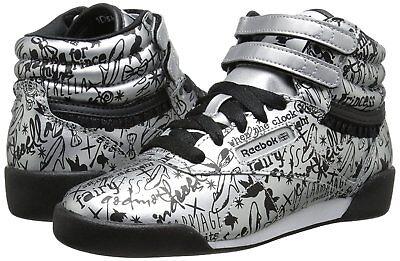 Kids Girl Shoes Disney Cinderella Free Style High Top Reebok Black Silver M46103 - Girls Disney Shoes