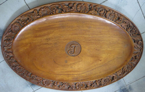 VINTAGE HAND CARVED OVAL SERVING TRAY GORGEOUS