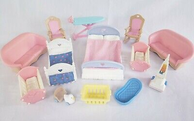 Vintage Fisher Price Loving Family 90's Dollhouse Furniture Lot