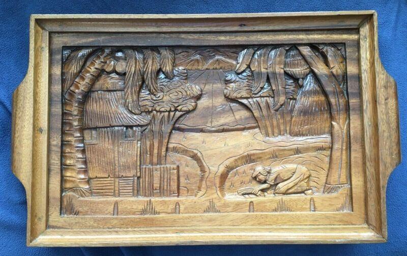 """Hawaiian Wood 19"""" Carved HAWAIIAN Island Platter Tray Picture + 4 CUPS Vintage"""
