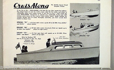 CruisAlong Special, Deluxe & Utility 21 Foot Boat PRINT AD - 1948 ~~ Cruis Along