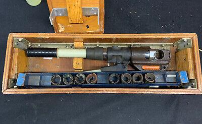 Thomas Betts Tbm14m 14 Ton Hydraulic Crimp Tool With 8 Dies Wood Case