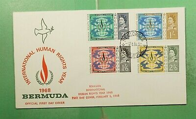 DR WHO 1968 BERMUDA FDC HUMAN RIGHTS YEAR CACHET COMBO  g14535
