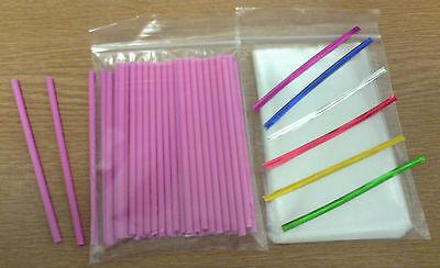 Pink Lollipop Sticks (50 x 114mm PINK PLASTIC LOLLIPOP STICKS CAKE POP KIT INCLUDES BAGS & TWIST TIE)