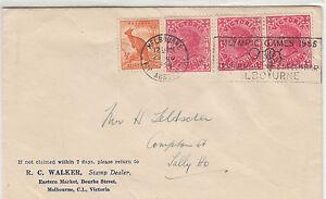 Stamps-Australia-1956-usage-3-x-Victoria-1d-Kangaroo-Olympic-Games-postmark