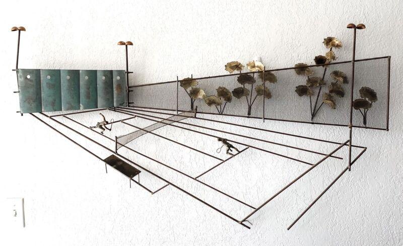 Curtis C Jere Tennis Wall Sculpture US Bronze Metal Vtg Signed Original Complete