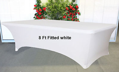 White Stretch Spandex 8 foot Trestle / Folding Table Cover