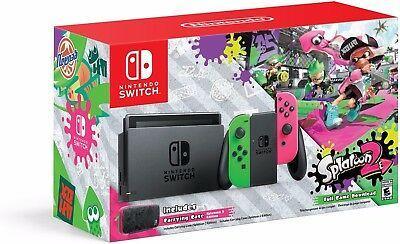 Nintendo Switch Console With Splatoon 2   Neon Green   Pink Joy Cons  Ns 32Gb