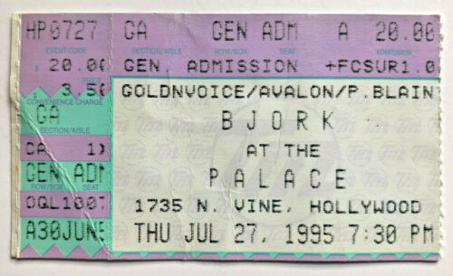 1995 Bjork Ticket Stub 7/27/95 Post Tour - Palace, Hollywood, Ca.