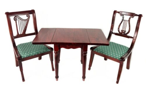 "KINGSTATE Wood Dining Table & Upholstered Chairs Set for 18"" Dolls - Vintage"