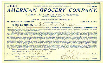 American Grocery Company. Stock Certificate. Jersey City, New - Party City Jersey City