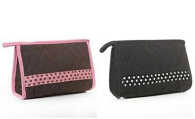 Cosmetic Case Bag Quilted Brown / Pink or Black / White Retired BELVAH NWT ()