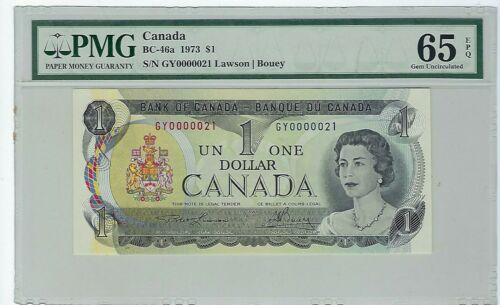 1973 $1 BANK OF CANADA 2$ BC-46a GY PREFIX PMG 65EPQ 2 Digtit Seial # 21