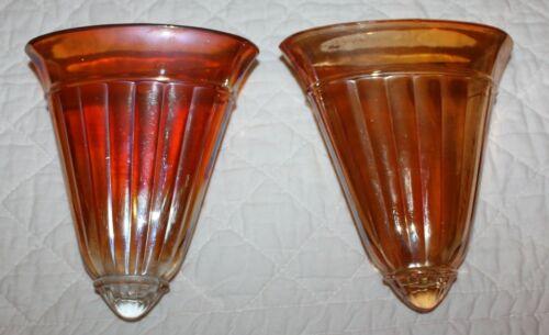2-Vintage Marigold Carnival Glass Ribbed Wall Pocket Depression Era 20