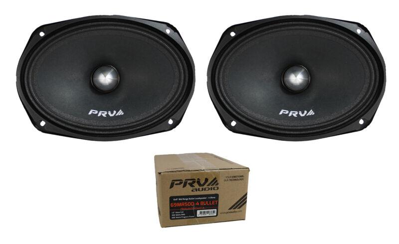 "Pair of PRV Audio 6x9"" 1000W Mid Range Bullet Loudspeaker 4 Ohm 69MR500-4 BULLET"