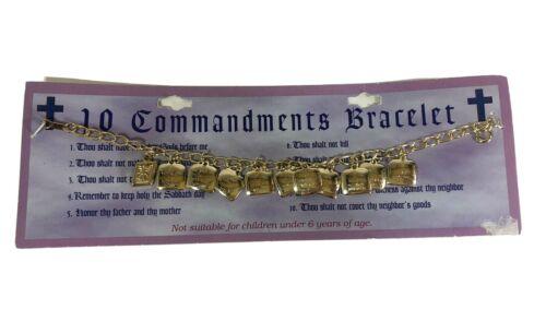 "NEW 10 TEN COMMANDMENTS CHARM  Bracelet Gold Tone Metal Jewelry Religious 7.5"""