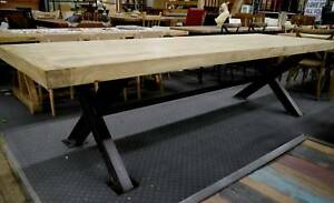 New French Industrial Recycled Timber Reclaimed Elm Dining Table