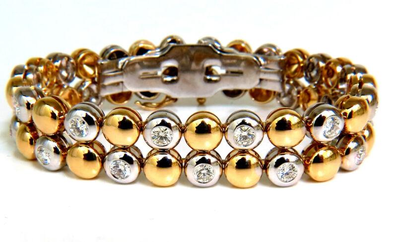5.00ct 18kt Diamonds Rounds Two Toned Domed Link Bracelet G/vs+