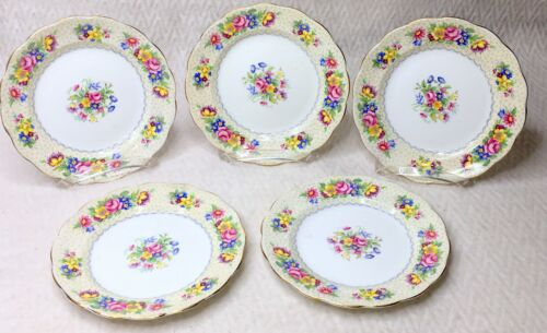 5 Vintage England Brussels Lace Royal Standard Bone China Floral Dessert Plates