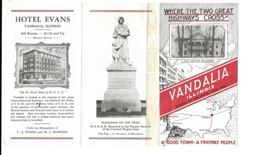 1930 Hotel Evans -- Where the two great highways cross. Vandalia, Illinois