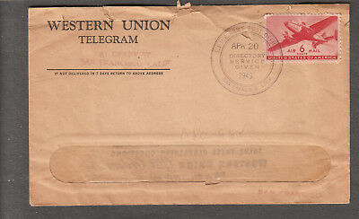 1943 Wwii Western Union Telegram Cover San Francisco Sfpe Army Post Office