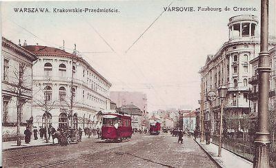 Poland Warszawa - Krakowskie Przedmiescie Tramway pre WWI postcard