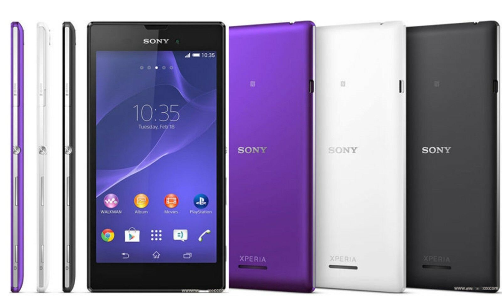 SELLER REFURBISHED 8GB SONY XPERIA T3 D5103SMARTPHONE FACTORY UNLOCKED BLACK WHITE PURPLE NFC PHONE