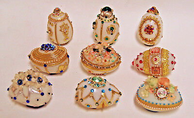 Vintage Hand Decorated Jeweled White Milk Glass Easter Eggs