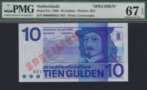 Netherlands 10 gulden 1968 Specimen #093, Frans Hals, PMG 67 EPQ, Pick 91s