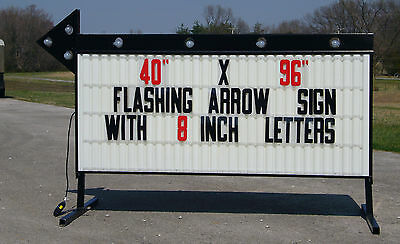 New Large Roadside Business Sign Flashing Arrow Lighted Message Area 40x96