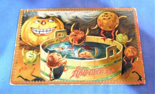 Antique Tucks Halloween Postcard JOLs Dunking in Pool   Free Shipping
