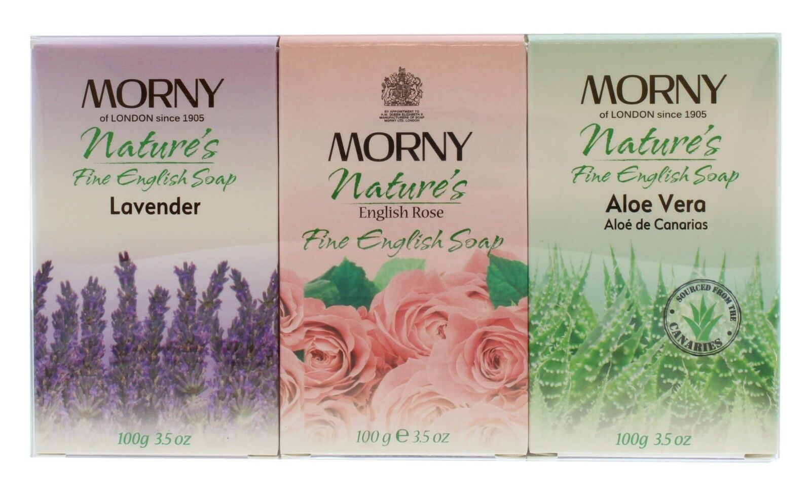 Morny Nature's 3 Piece Soap Set Lavender Aloe Vera & English Rose 100g Gift Set
