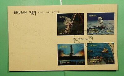 DR WHO 1969 BHUTAN FDC SPACE 3-D IMPERF COMBO AIRMAIL  g11393