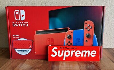 Nintendo Switch Mario Red & Blue Edition Console with Carrying Case - Brand New!