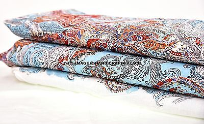 Indian Cotton Voile Fabric Paisley Sewing Hand Block Print Craft By The Yard