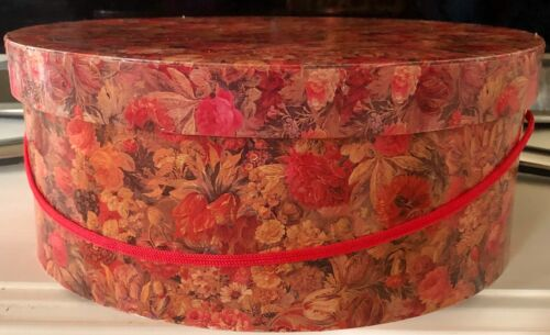 LOVELY VINTAGE CHINTZ STYLE FLORAL HAT BOX