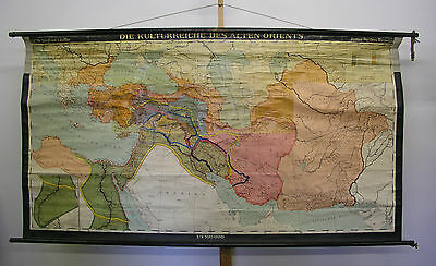 Schulwandkarte Wall Map Culture Sheik Orient School Map 218x117cm 1958 Gr.vers