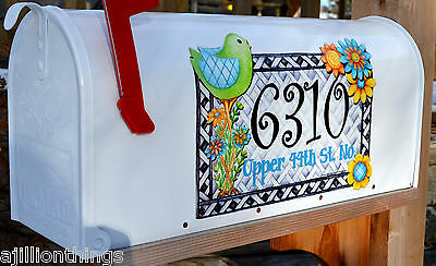 Mailbox Magnet Partial Cover Door Of Mail Box Bird Flowers Spring Personalized
