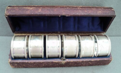 1870s Antique SET of 6 SILVERPLATED NAPKIN RINGS Numbered w/ Box & Gumps Receipt