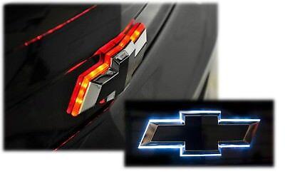 Illuminated Rear Trunk Lid Bowtie White LED Red Brake Light Up Emblem Black Logo - Led Bowtie