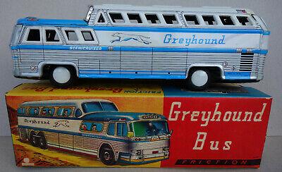 1960 Greyhound Bus Friktionsmodell Japan Blechspielzeug 26cm unbespielt in OVP